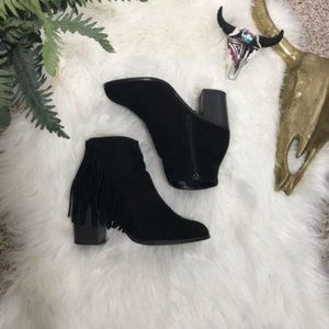 Forever 21 Black Faux Suede Fringe Heeled Booties